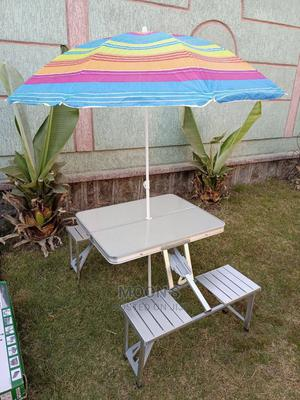 Aluminum Chair and Table With Sun Umbrella | Garden for sale in Addis Ababa, Bole
